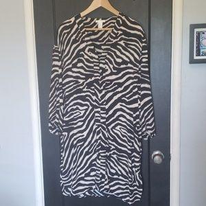 H&M zebra print tunic dress with deep v neck